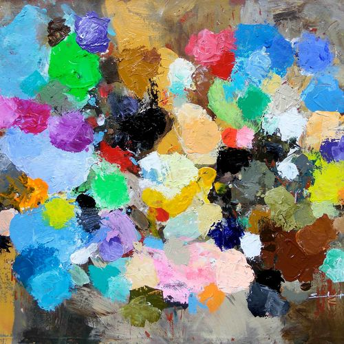 sandeep's color palette, 32 x 22 inch, sandeep rawal ,abstract paintings,cityscape paintings,religious paintings,contemporary paintings,lord shiva paintings,paintings for dining room,paintings for living room,paintings for office,paintings for kids room,paintings for hotel,paintings for kitchen,paintings for school,paintings for hospital,canvas,acrylic color,32x22inch,GAL0251119065