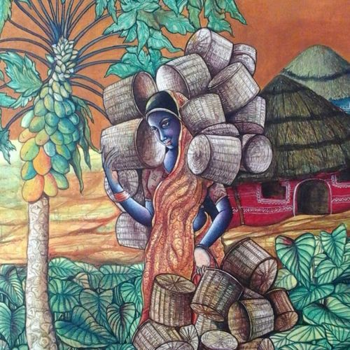 village lady, 30 x 50 inch, manoj  p p,figurative paintings,paintings for living room,canvas,acrylic color,30x50inch,GAL07481907