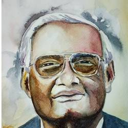 vaajpayee ji, 8 x 11 inch, sujit  raut,paintings,figurative paintings,paintings for living room,paintings for office,paintings for school,paintings for living room,paintings for office,paintings for school,brustro watercolor paper,watercolor,8x11inch,GAL0936419073