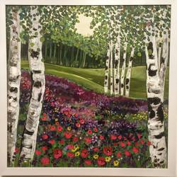 bluebells and birch, 36 x 36 inch, supriya sathe,paintings,abstract paintings,paintings for dining room,paintings for living room,paintings for bedroom,paintings for office,paintings for bathroom,paintings for hotel,paintings for school,paintings for hospital,canvas,acrylic color,36x36inch,GAL0938519077