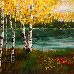 birch reflections, 48 x 36 inch, supriya sathe,landscape paintings,nature paintings,impressionist paintings,paintings for dining room,paintings for living room,paintings for bedroom,paintings for office,paintings for bathroom,paintings for kids room,paintings for hotel,paintings for kitchen,paintings for school,paintings for hospital,canvas,acrylic color,48x36inch,GAL0938519078Nature,environment,Beauty,scenery,greenery,trees,water,beautiful,leaves,flowers
