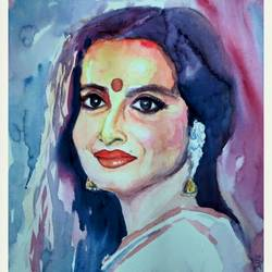 beauty and legend, 14 x 12 inch, manash jyoti dutta,paintings,portrait paintings,brustro watercolor paper,watercolor,14x12inch,GAL0936219086