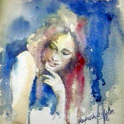 the lady, 14 x 12 inch, manash jyoti dutta,paintings,expressionist paintings,brustro watercolor paper,watercolor,14x12inch,GAL0936219087
