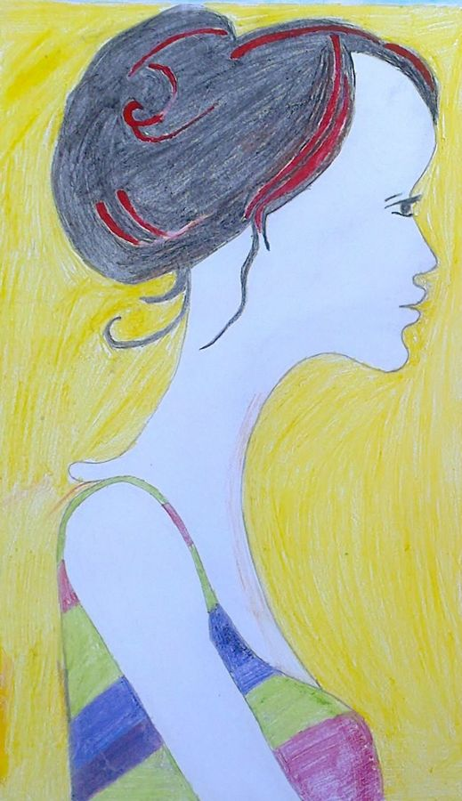 blood hair, 6 x 12 inch, parekh ji,fine art drawings,paintings for bedroom,thick paper,pastel color,6x12inch,GAL07471909