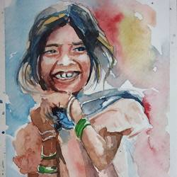 the innocent smile, 12 x 8 inch, manash jyoti dutta,paintings,figurative paintings,brustro watercolor paper,watercolor,12x8inch,GAL0936219092