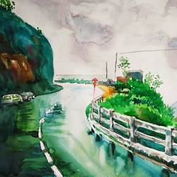 landscape, 12 x 8 inch, manash jyoti dutta,paintings,nature paintings,brustro watercolor paper,watercolor,12x8inch,GAL0936219093Nature,environment,Beauty,scenery,greenery,trees,water,beautiful,leaves,flowers