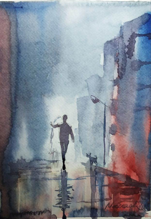 cityscape, 12 x 8 inch, manash jyoti dutta,paintings,cityscape paintings,brustro watercolor paper,watercolor,12x8inch,GAL0936219094