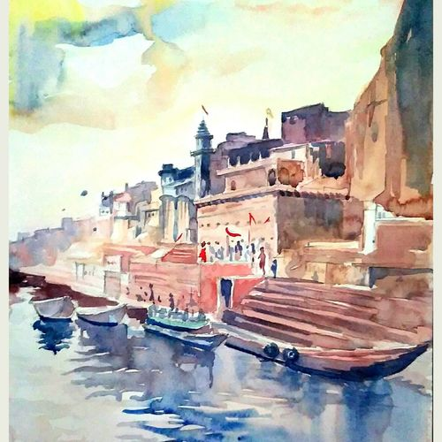 where is god, 12 x 8 inch, manash jyoti dutta,paintings,landscape paintings,brustro watercolor paper,watercolor,12x8inch,GAL0936219096