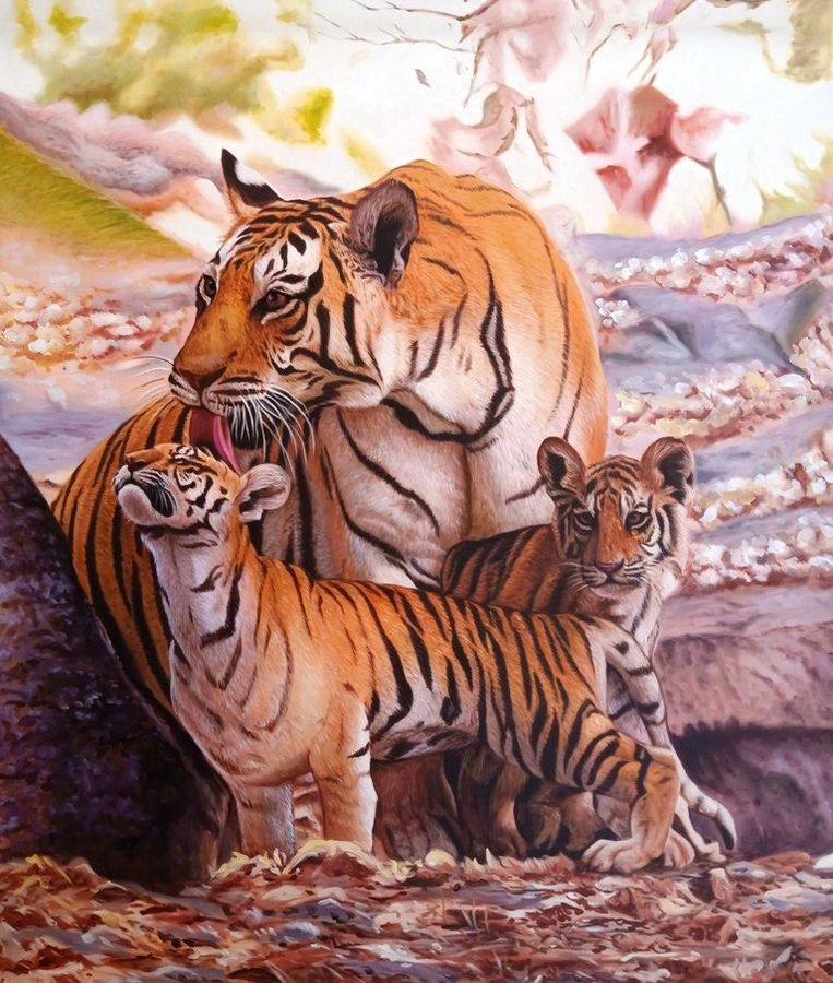 mother's love 27 x 36 inch by ajay singh peelwa,27x36inch,love,tiger,GAL0937819098