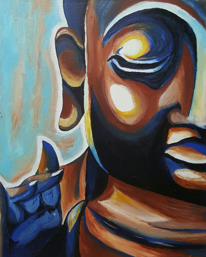 lord buddha -brown and blue, 16 x 20 inch, amaey parekh,buddha paintings,paintings for office,paintings for living room,canvas,acrylic color,16x20inch,religious,peace,meditation,meditating,gautam,goutam,buddha,brown,GAL075191