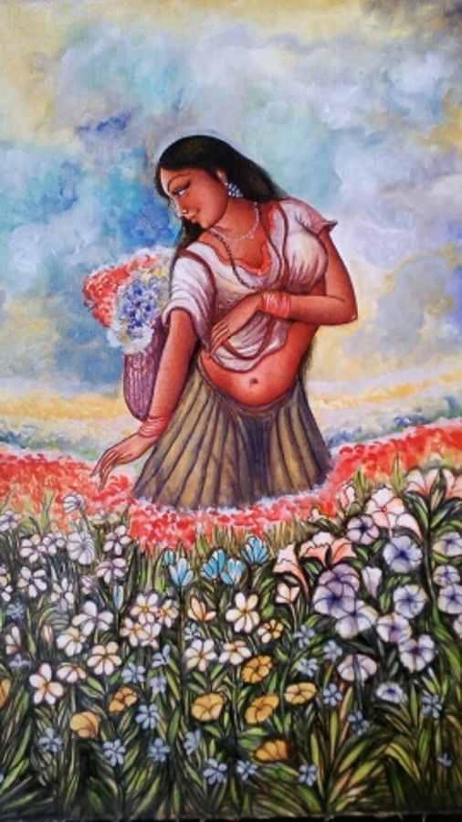 girl in garden, 30 x 40 inch, manoj  p p,figurative paintings,canvas,acrylic color,30x40inch,GAL07481910