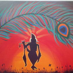 krishna, 12 x 16 inch, dhanya gm,paintings,religious paintings,canvas,acrylic color,12x16inch,GAL0878519100