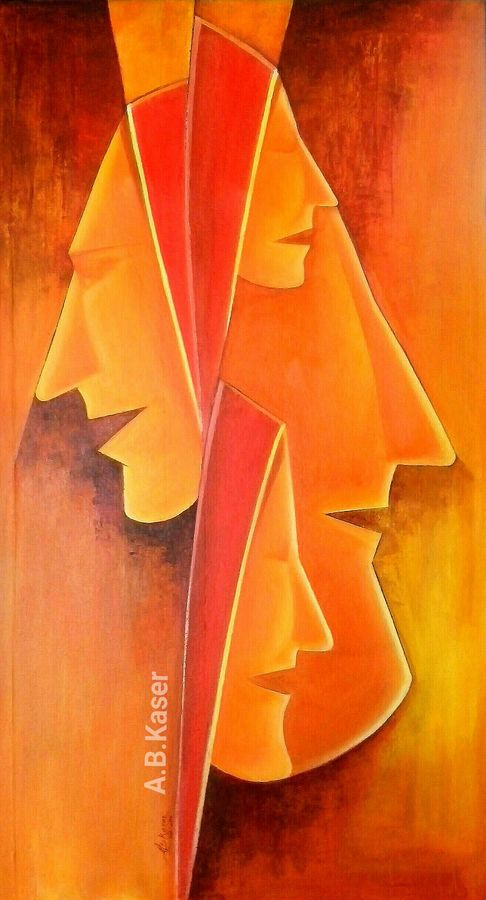 faces, 19 x 36 inch, a.b.  kaser,abstract paintings,paintings for living room,canvas,acrylic color,19x36inch,GAL06361911