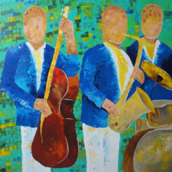 blue music band, 30 x 30 inch, amita dand,paintings,abstract paintings,figurative paintings,paintings for living room,paintings for office,paintings for hotel,canvas,acrylic color,30x30inch,GAL0146719114
