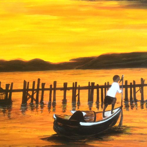 the sun sets, 16 x 12 inch, promila singh,paintings,nature paintings,paintings for living room,thick paper,acrylic color,16x12inch,GAL0823219116Nature,environment,Beauty,scenery,greenery