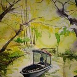 lake view, 9 x 12 inch, manoj  p p,landscape paintings,paintings for bedroom,brustro watercolor paper,watercolor,9x12inch,GAL07481912