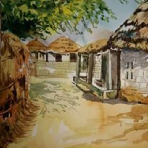 village, 12 x 9 inch, manoj  p p,landscape paintings,paintings for living room,brustro watercolor paper,watercolor,12x9inch,GAL07481913