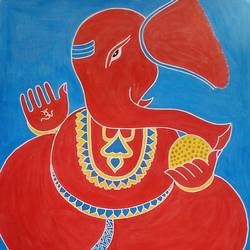 """red""ganesha, 22 x 28 inch, gajanan  kale,ganesha paintings,paintings for dining room,paintings for living room,paintings for office,paintings for kids room,paintings for hotel,paintings for kitchen,paintings for school,paintings for hospital,ivory sheet,poster color,22x28inch,GAL0921419130,vinayak,ekadanta,ganpati,lambodar,peace,devotion,religious,lord ganesha,lordganpati,ganpati bappa morya,ganesh chaturthi,ganesh murti,elephant god,religious,lord ganesh,ganesha,om,hindu god,shiv parvati, putra,bhakti,blessings,aashirwad,pooja,puja,aarti,ekdant,vakratunda,lambodara,bhalchandra,gajanan,vinayak,prathamesh,vignesh,heramba,siddhivinayak,mahaganpati,omkar,mushak,mouse,ladoo,modak"