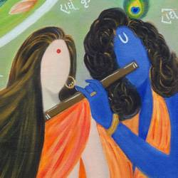 abstract radha krishna, 24 x 16 inch, pallavi parihar,paintings,abstract paintings,religious paintings,paintings for living room,paintings for hotel,paintings for kitchen,paintings for hospital,canvas,oil,24x16inch,GAL0677919131