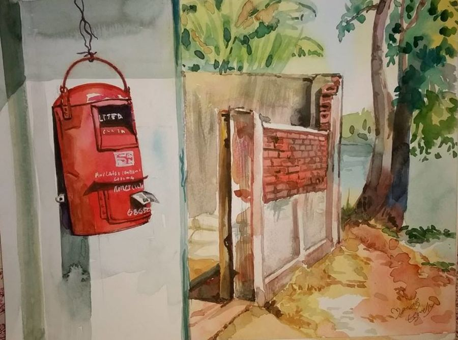 old indian post box, 12 x 9 inch, manoj  p p,street art,paintings for living room,modern art paintings,realistic paintings,brustro watercolor paper,watercolor,12x9inch,GAL07481914