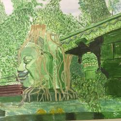 ancient temple , 18 x 24 inch, saradha devi prabhakaran,paintings,lord shiva paintings,paintings for living room,paintings for office,paintings for hotel,paintings for school,canvas board,acrylic color,18x24inch,GAL0798819147