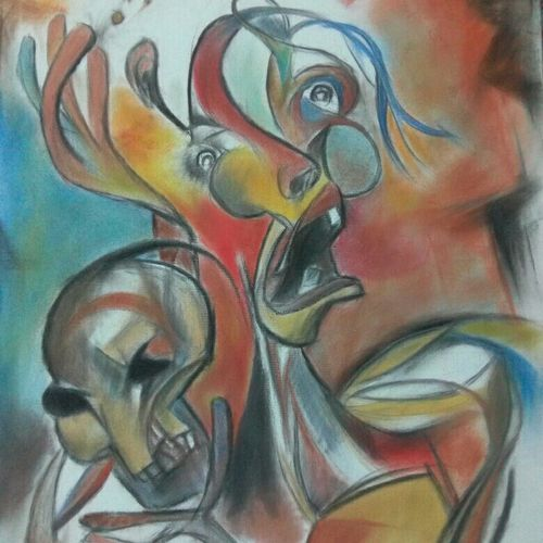 sorcerer, 18 x 24 inch, soumya  banerjee,drawings,abstract expressionist drawings,paintings for living room,paintings for hotel,canvas,charcoal,pastel color,18x24inch,GAL0301119161