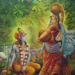 radha krishna 02, 24 x 36 inch, vishal gurjar,paintings for living room,paintings for bedroom,paintings for office,paintings for hotel,radha krishna paintings,paintings for kitchen,canvas,acrylic color,oil,24x36inch lord krishna,radha, love, couple, radhakrishna, nature, water, flute, blue, religious,greenery,krishna,Lord krishna,krushna,radha krushna,flute,peacock feather,melody,peace,religious,god,flower,leaves,swan,lotus,makhan,pot
