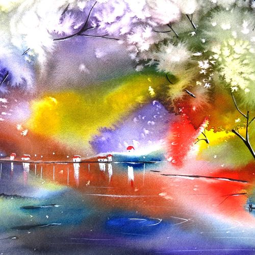 whispering winds, 15 x 22 inch, shyam  kumar,paintings,flower paintings,landscape paintings,conceptual paintings,nature paintings,expressionist paintings,impressionist paintings,surrealist paintings,paintings for dining room,paintings for living room,paintings for bedroom,paintings for office,paintings for bathroom,paintings for kids room,paintings for hotel,paintings for kitchen,paintings for school,paintings for hospital,arches paper,watercolor,15x22inch,GAL0944219218Nature,environment,Beauty,scenery,greenery