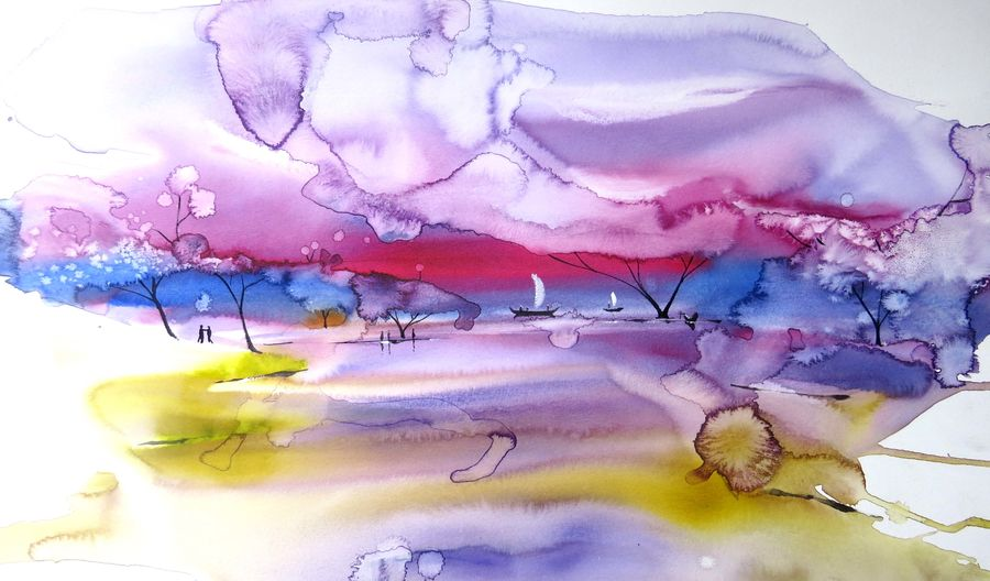 lucid dream, 16 x 22 inch, shyam  kumar,paintings,landscape paintings,modern art paintings,conceptual paintings,impressionist paintings,surrealist paintings,contemporary paintings,paintings for dining room,paintings for living room,paintings for bedroom,paintings for office,paintings for bathroom,paintings for kids room,paintings for hotel,paintings for kitchen,paintings for school,paintings for hospital,canson paper,watercolor,16x22inch,GAL0944219219