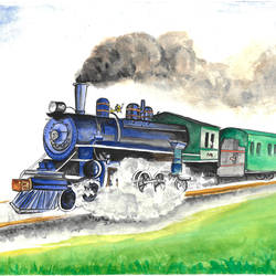 train - steam engine, 12 x 8 inch, augur art gallery,paintings,art deco paintings,paintings for living room,paintings for office,canson paper,watercolor,12x8inch,GAL0935819225