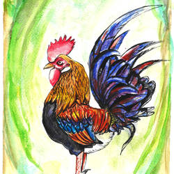 rooster on watch, 8 x 12 inch, augur art gallery,paintings,portrait paintings,nature paintings,animal paintings,paintings for dining room,paintings for living room,paintings for office,paintings for kids room,paintings for hotel,paintings for dining room,paintings for living room,paintings for office,paintings for kids room,paintings for hotel,canson paper,watercolor,8x12inch,GAL0935819228Nature,environment,Beauty,scenery,greenery