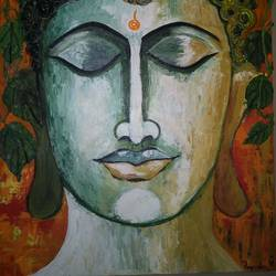 the peace, 20 x 30 inch, priyanka singh,paintings,buddha paintings,paintings for living room,paintings for living room,canvas,mixed media,20x30inch,religious,peace,meditation,meditating,gautam,goutam,buddha,lord,face,leafs,grey,GAL0950319245