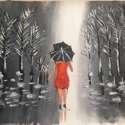 rain walk, 22 x 13 inch, khushboo rathore,paintings,paintings for dining room,paintings for living room,paintings for bedroom,paintings for office,paintings for kids room,paintings for hotel,paintings for school,paintings for hospital,canvas,acrylic color,22x13inch,GAL0946519248