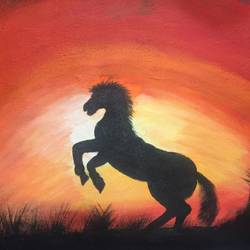 hourse at sunset , 16 x 13 inch, khushboo rathore,paintings,horse paintings,paintings for dining room,paintings for living room,paintings for bedroom,paintings for office,paintings for kids room,paintings for hotel,paintings for school,paintings for hospital,canvas,acrylic color,16x13inch,GAL0946519251
