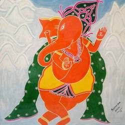 dancing ganesha, 22 x 28 inch, gajanan  kale,paintings,ganesha paintings,paintings for dining room,paintings for living room,paintings for office,paintings for kids room,paintings for hotel,paintings for kitchen,paintings for school,paintings for hospital,ivory sheet,poster color,22x28inch,GAL0921419258,vinayak,ekadanta,ganpati,lambodar,peace,devotion,religious,lord ganesha,lordganpati,ganpati,ganesha,lord ganesh,elephant god,religious,ganpati bappa morya,mouse,mushakraj,ladoo,sweets