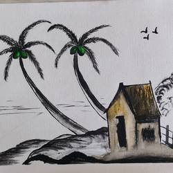 coconut tree by the hut, 12 x 16 inch, jyothi mehla,paintings,landscape paintings,modern art paintings,nature paintings,love paintings,paintings for dining room,paintings for living room,paintings for bedroom,paintings for school,paintings for dining room,paintings for living room,paintings for bedroom,paintings for school,canvas,acrylic color,12x16inch,GAL0952519259Nature,environment,Beauty,scenery,greenery
