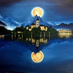 moonlight , 24 x 18 inch, simon  fernando,nature paintings,paintings for living room,canvas,acrylic color,24x18inch,GAL07351928Nature,environment,Beauty,scenery,greenery