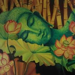 buddha, 18 x 24 inch, poornima yellapurkar,paintings,buddha paintings,canvas,oil,18x24inch,peace,meditation,meditating,sleeping,green,flowers,orange,gautam,goutam,religious,GAL0953519280,peace,lordbuddha,inner,lordface,lotus,gautaum