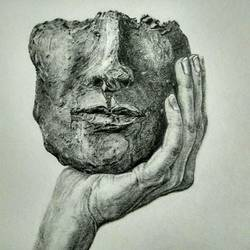 mask, 14 x 15 inch, poornima yellapurkar,drawings,realism drawings,paintings for living room,paintings for bedroom,paintings for office,paintings for hotel,ivory sheet,graphite pencil,14x15inch,GAL0953519283