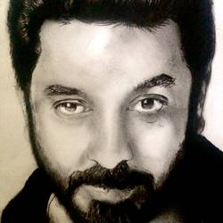 kamal hassan , 9 x 12 inch, simon  fernando,portrait drawings,paintings for office,thick paper,charcoal,9x12inch,GAL07351929