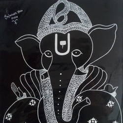 beautiful ganesha, 22 x 28 inch, gajanan  kale,ganesha paintings,paintings for dining room,paintings for living room,paintings for office,paintings for kids room,paintings for hotel,paintings for kitchen,paintings for school,paintings for hospital,ivory sheet,poster color,22x28inch,GAL0921419294,vinayak,ekadanta,ganpati,lambodar,peace,devotion,religious,lord ganesha,lordganpati,ganpati bappa morya,ganesh chaturthi,ganesh murti,elephant god,religious,lord ganesh,ganesha,om,hindu god,shiv parvati, putra,bhakti,blessings,aashirwad,pooja,puja,aarti,ekdant,vakratunda,lambodara,bhalchandra,gajanan,vinayak,prathamesh,vignesh,heramba,siddhivinayak,mahaganpati,omkar,mushak,mouse,ladoo,modak
