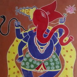 dancing ganesha, 22 x 28 inch, gajanan  kale,ganesha paintings,paintings for dining room,paintings for living room,paintings for office,paintings for kids room,paintings for hotel,paintings for kitchen,paintings for school,paintings for hospital,ivory sheet,acrylic color,22x28inch,GAL0921419297,vinayak,ekadanta,ganpati,lambodar,peace,devotion,religious,lord ganesha,lordganpati,ganpati bappa morya,ganesh chaturthi,ganesh murti,elephant god,religious,lord ganesh,ganesha,om,hindu god,shiv parvati, putra,bhakti,blessings,aashirwad,pooja,puja,aarti,ekdant,vakratunda,lambodara,bhalchandra,gajanan,vinayak,prathamesh,vignesh,heramba,siddhivinayak,mahaganpati,omkar,mushak,mouse,ladoo,modak