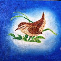 the wren bird, 16 x 20 inch, kranthi  tanneru,nature paintings,paintings for living room,canvas,acrylic color,sand,16x20inch,GAL077919300Nature,environment,Beauty,scenery,greenery