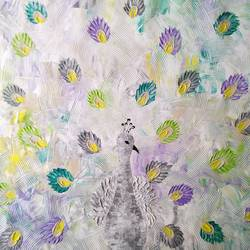 white peacock , 36 x 24 inch, esther sandhya a,paintings,nature paintings,paintings for living room,canvas,acrylic color,36x24inch,GAL0166319312Nature,environment,Beauty,scenery,greenery