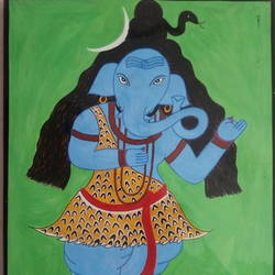 shiv... ganesha, 22 x 28 inch, gajanan  kale,paintings,ganesha paintings,paintings for dining room,paintings for living room,paintings for office,paintings for kids room,paintings for hotel,paintings for kitchen,paintings for school,paintings for hospital,ivory sheet,poster color,22x28inch,GAL0921419315,vinayak,ekadanta,ganpati,lambodar,peace,devotion,religious,lord ganesha,lordganpati,ganpati bappa morya,ganesh chaturthi,ganesh murti,elephant god,religious,lord ganesh,ganesha,om,hindu god,shiv parvati, putra,bhakti,blessings,aashirwad,pooja,puja,aarti,ekdant,vakratunda,lambodara,bhalchandra,gajanan,vinayak,prathamesh,vignesh,heramba,siddhivinayak,mahaganpati,omkar,mushak,mouse,ladoo,modak,shlok