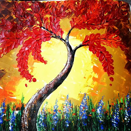 palette knife painting, 11 x 14 inch, nikky kumari,paintings,flower paintings,nature paintings,love paintings,children paintings,paintings for dining room,paintings for living room,paintings for bedroom,paintings for office,paintings for hotel,paintings for school,paintings for hospital,thick paper,acrylic color,11x14inch,GAL0860419317Nature,environment,Beauty,scenery,greenery,trees,beautiful,leaves,flowers