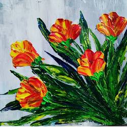 palette knife painting, 10 x 10 inch, nikky kumari,paintings,flower paintings,love paintings,paintings for dining room,paintings for living room,paintings for office,paintings for hotel,paintings for school,paintings for hospital,thick paper,acrylic color,10x10inch,GAL0860419318