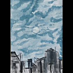 rooftop cloudy sky , 12 x 17 inch, nuzair  hashma ,paintings,landscape paintings,paintings for living room,paintings for bedroom,paintings for living room,paintings for bedroom,ivory sheet,watercolor,12x17inch,GAL0921819319
