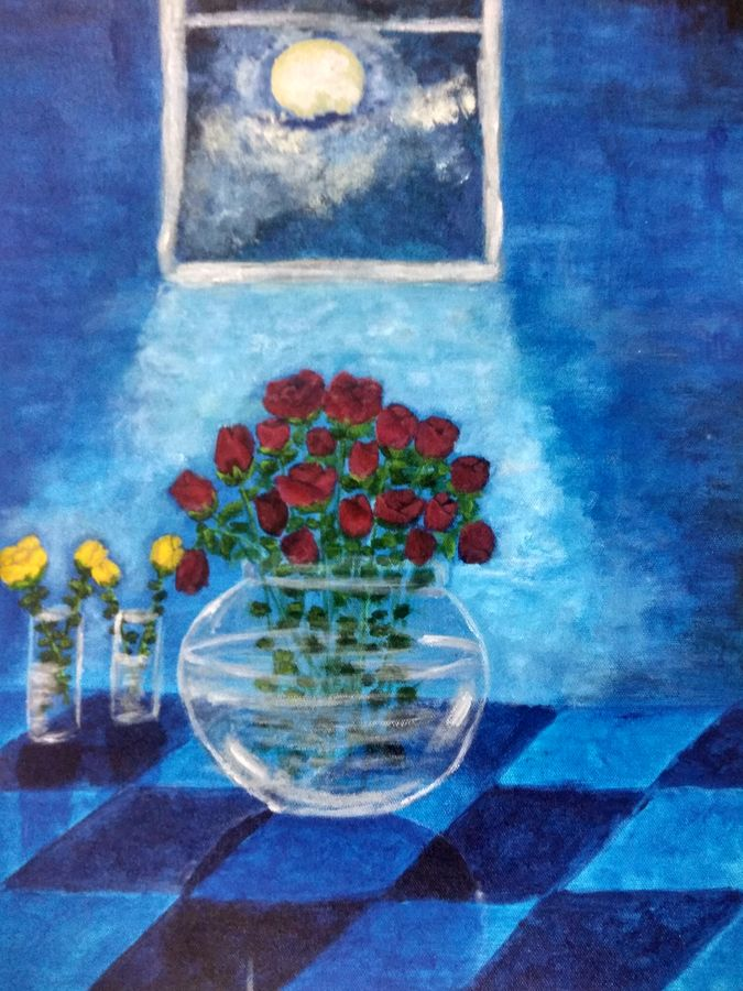 roses, 14 x 18 inch, debaleena biswas,paintings,flower paintings,nature paintings,paintings for living room,paintings for bedroom,canvas,acrylic color,14x18inch,GAL0954719321Nature,environment,Beauty,scenery,greenery