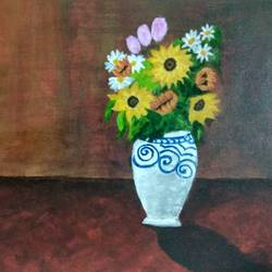 a simple vase, 14 x 18 inch, debaleena biswas,paintings,flower paintings,paintings for dining room,paintings for living room,paintings for bedroom,paintings for office,paintings for bathroom,paintings for school,paintings for dining room,paintings for living room,paintings for bedroom,paintings for office,paintings for bathroom,paintings for school,canvas,acrylic color,14x18inch,GAL0954719324